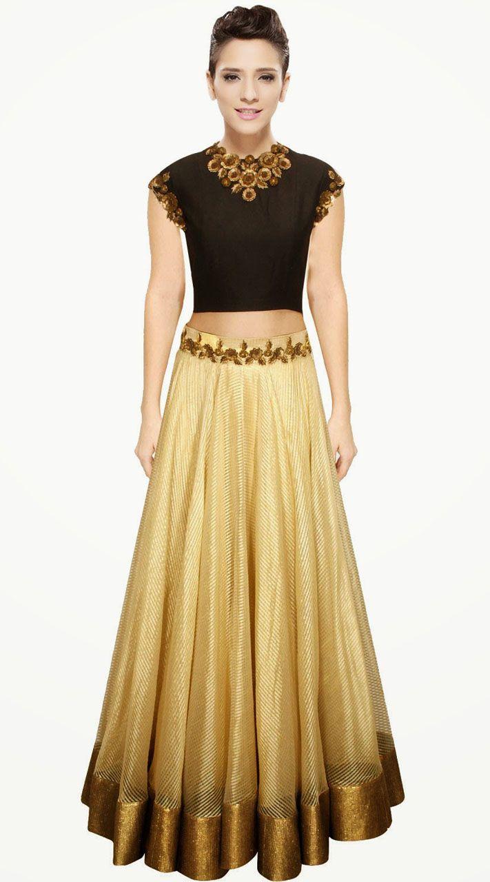 Pretty Golden Cream Cotton Silk Designer Crop Top Lehenga. Pretty Golden Cream Cotton Silk Designer Crop Top Lehenga   Indian