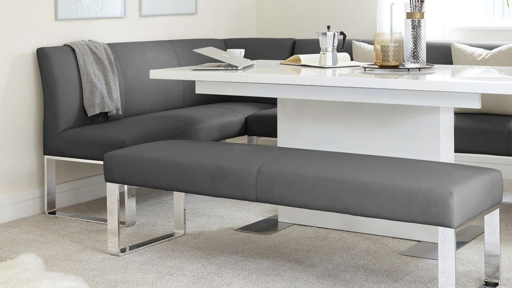 Sanza White Gloss And Loop 5 Seater Right Hand Corner Bench Dining