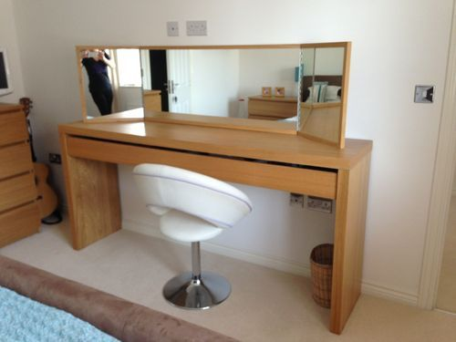 Ikea Malm Large Dressing Table And, Oak Dressing Table With Fold Down Mirror