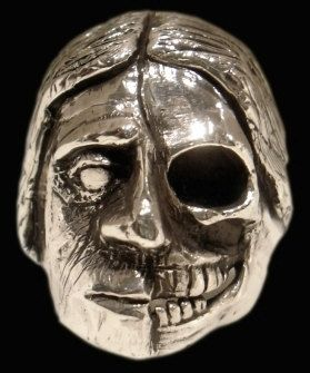 Skull ring - Sterling Silver Indian Toltec warrior Skull