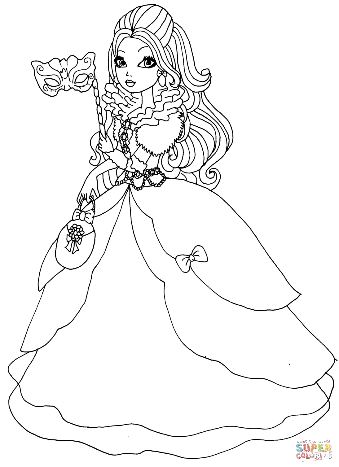 desenho de ever after high apple white thronecoming para colorir