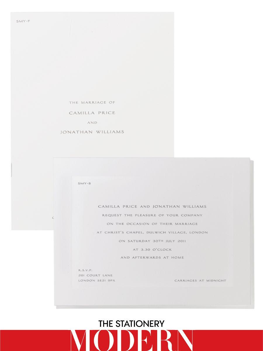 Smythson bespoke wedding invitation, $615 for set of 50Smythson, NYC, 212.265.4573
