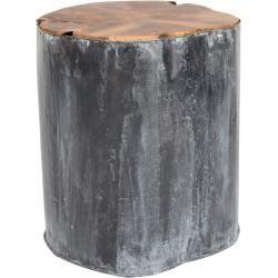 Photo of Metalen teakhouten bijzettafeltje Dutchbone