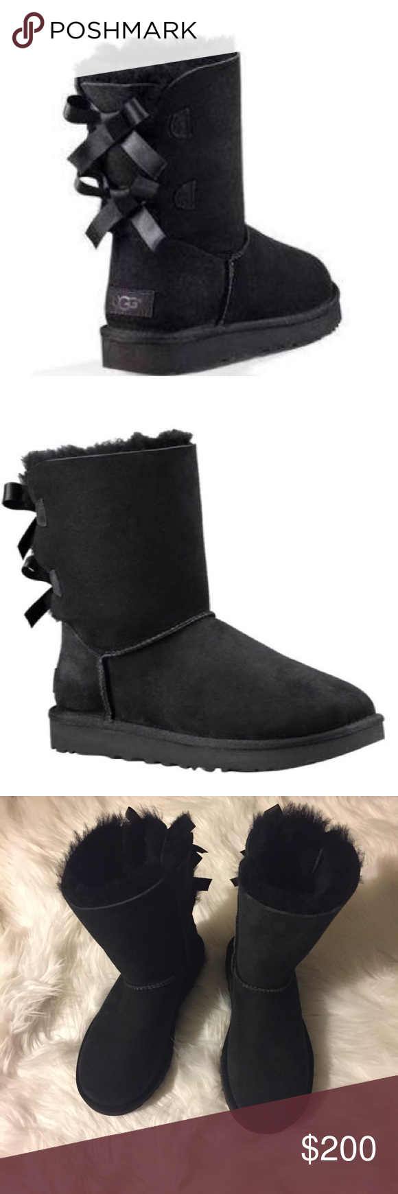 Black Bow Uggs Black Uggs With Bow Backs Never Been Worn
