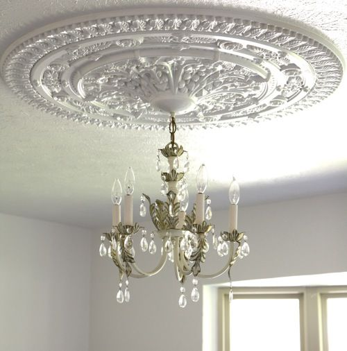 How to install a ceiling medallion. Must remember... if we ever get - Upcycle An Old Frame As A Ceiling Medallion... Rustic Bedroom