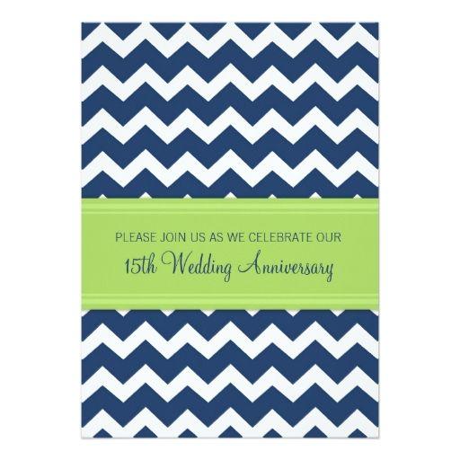 """Blue Lime Chevron 15th Anniversary Invitation 5"""" X 7"""" Invitation Card"""