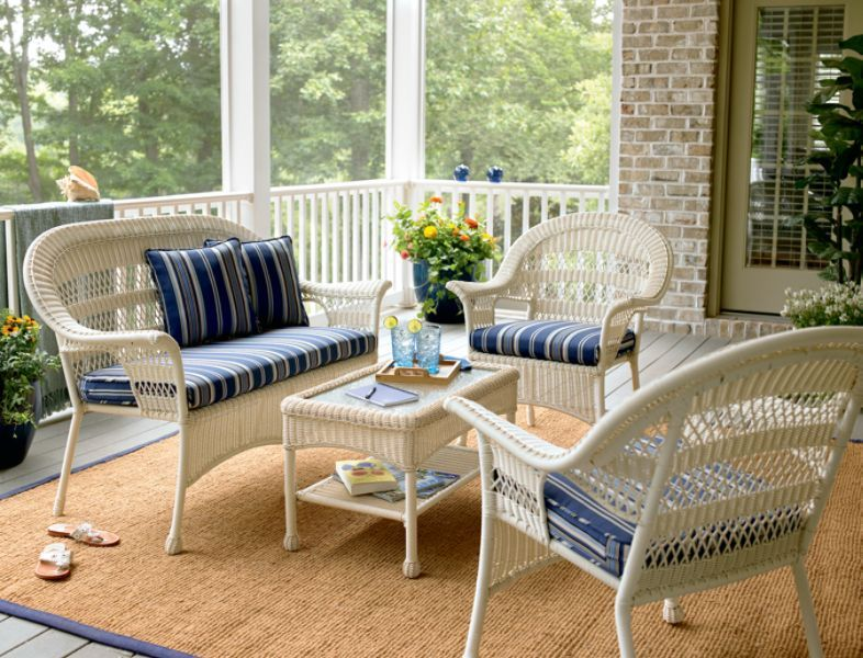 Simply Outdoors Swood 4 Pc White Wicker Coastal Set At Sears