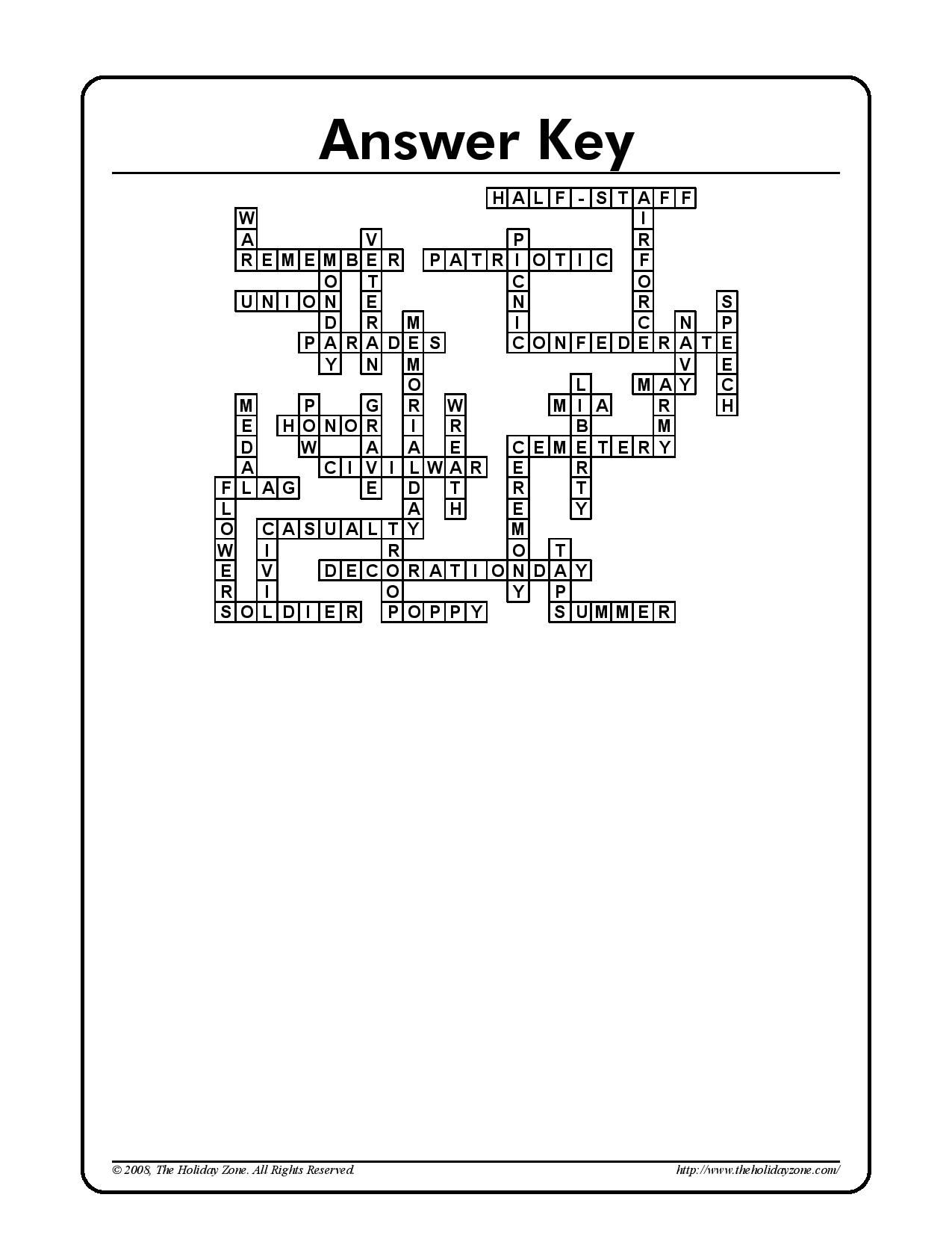 Memorial Day crossword puzzle answer sheet | Holiday Classroom