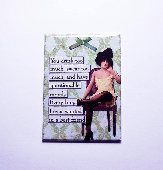 Photo of Funny Best Friend Magnet, Funny magnet, Humor, Retro, stocking stuffer, Gift for best friend, funny gift for friend, drink, swear (8416)