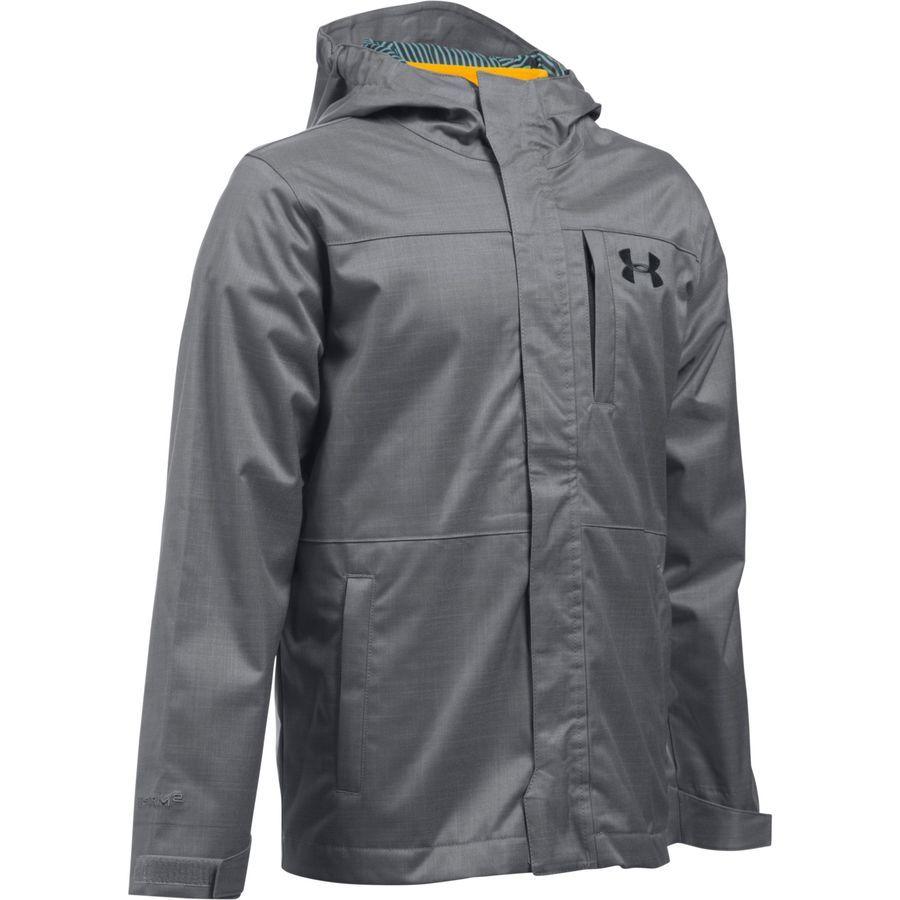 Superior Boys Bench Coat Part - 12: Under Armour - ColdGear Infrared Wildwood 3-in-1 Jacket - Boysu0027 -  Graphite-Black