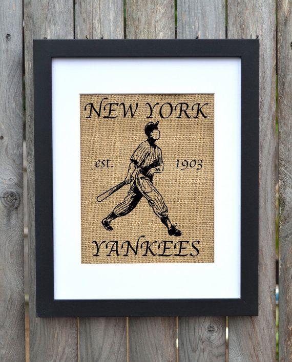 Welcome To New York Burlap Art, New York Yankees, Baseball Wall Art ...
