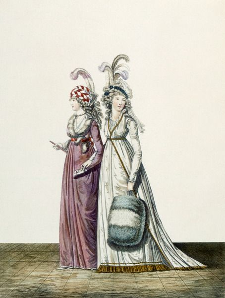 Evening dresses, fig 34 & fig 35 from 'The Gallery of Fashion', 1797 (coloured engraving) Artist: Heideloff, Nicolaus von (1761 - 1837)