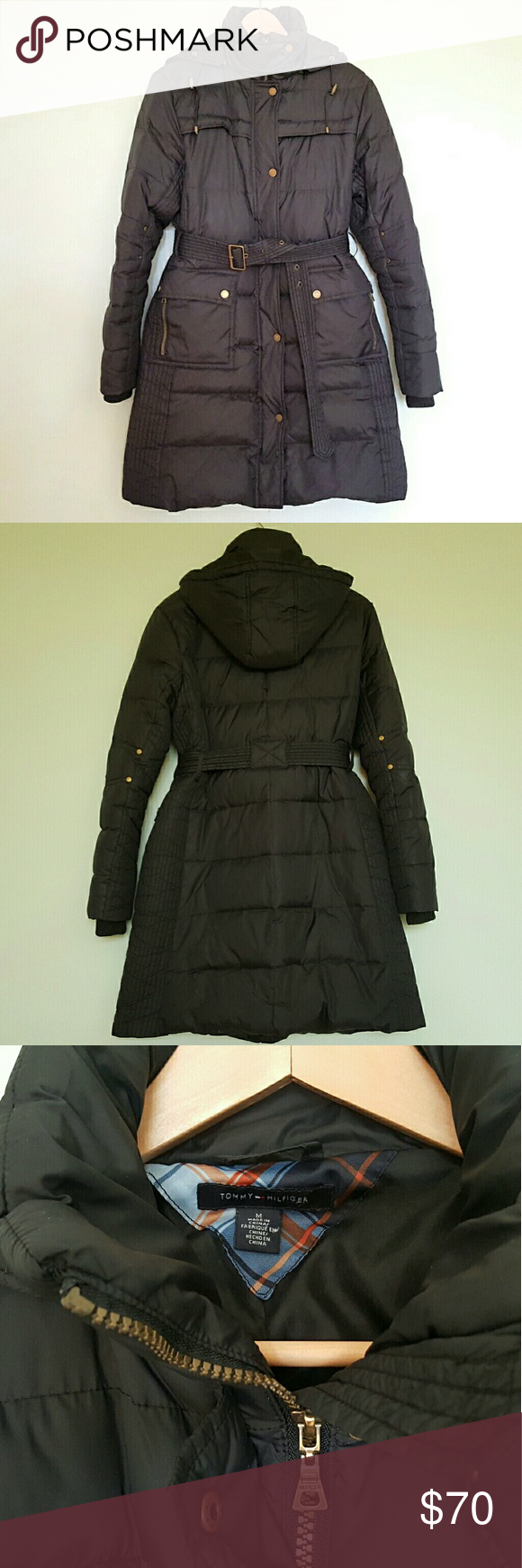 Tommy Hilfiger Black Down Hooded Puffer Coat M This cute