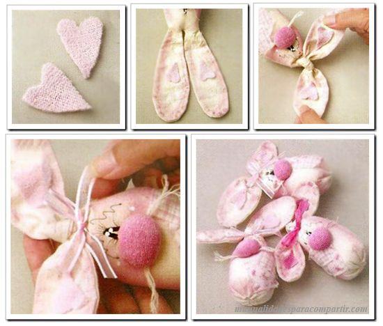 Manualidades f ciles paso a paso como hacer conejos de pascua de tela conejitos de pascua de - Como hacer manualidades con tela ...
