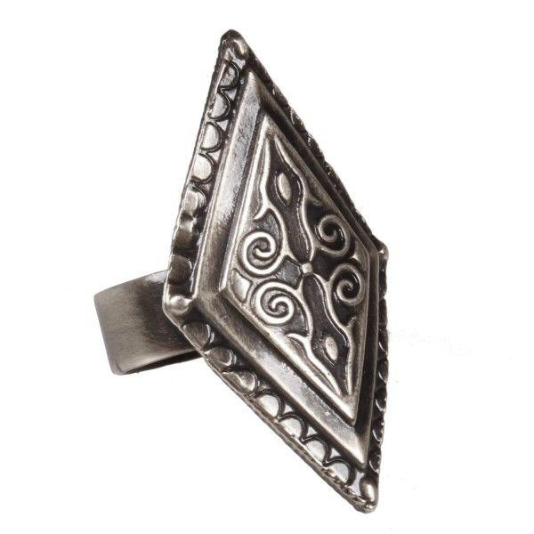 Anel losango étnico prata velha