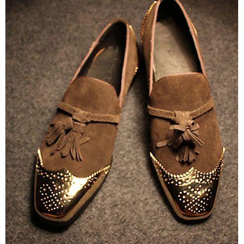 Metallic Gold Camel Suede Hipster Fashion Dress Moccasins Shoes Men