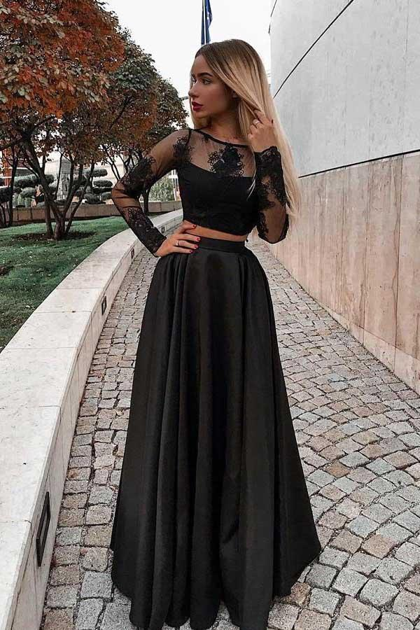Two Piece Prom Dress With Long Sleeves Floor Length Evening Dress With Lace N1610 Black Long Sleeve Prom Dress Prom Dresses Long With Sleeves Prom Dresses Long Black