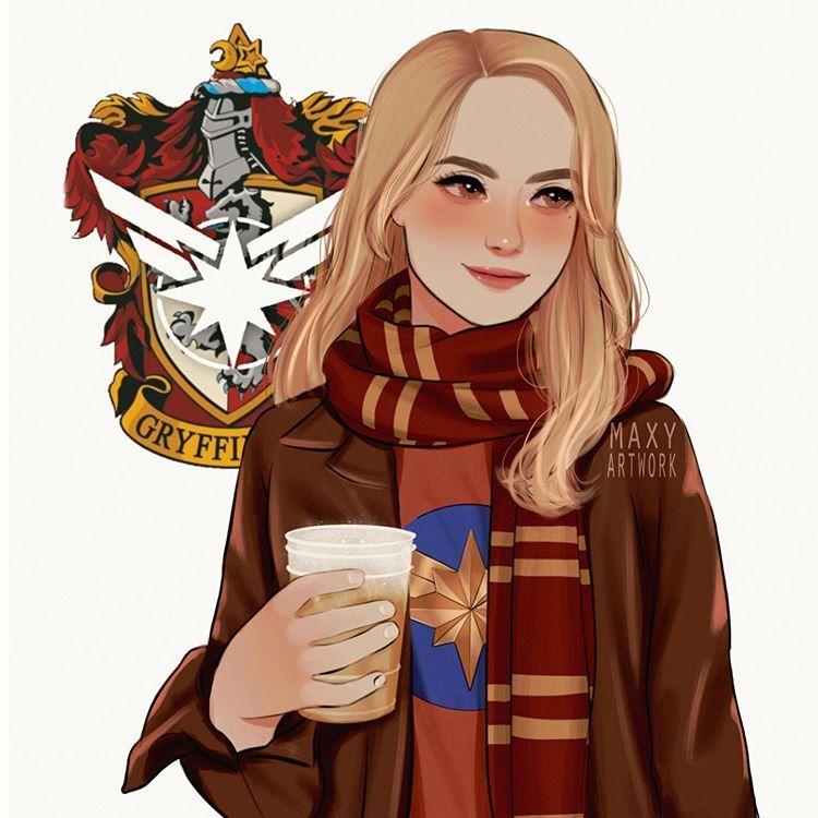 Maxy Artwork On Instagram Avengers As Hogwarts Houses Carol Danvers Gryffindor Let Me Kn Harry Potter Artwork Harry Potter Drawings Harry Potter Fan Art
