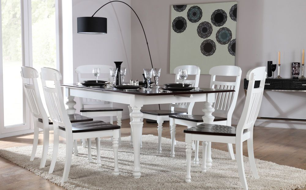 Sheraton White & Dark Wood Extending Dining Set At Furniture Simple Black And White Dining Room Decorating Design