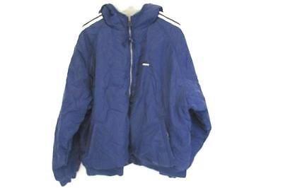 Herren Vintage Adidas Blau Grau Reversible Fleece Nylonjacke Größe 2