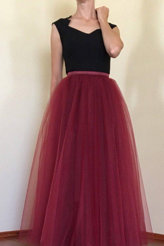 41cf73fbfd Tulle Maxi skirt,Burgundy Full Length Skirt,Floor length,Extra Full Bordo Tulle  Skirt,Maroon Tutu, B