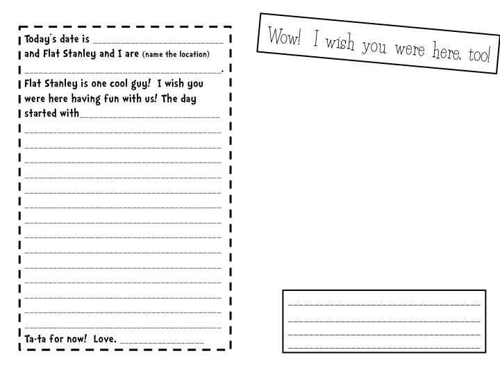 Flat Stanley Template  Flat StanleyS Travel Journal  School