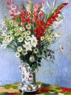 """""""Bouquet of Gladiolas, Lilies and Daisies"""" by Monet - Monet Paintings"""