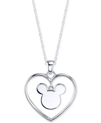 "Disney Mickey Mouse Heart ""Forever Yours"" Pendant Necklace in Sterling Silver"