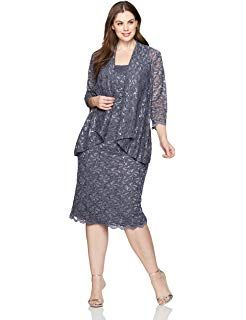 08a06edd0dcad Alex Evenings Women s Plus Size Tea Length Lace Dress and Jacket ...