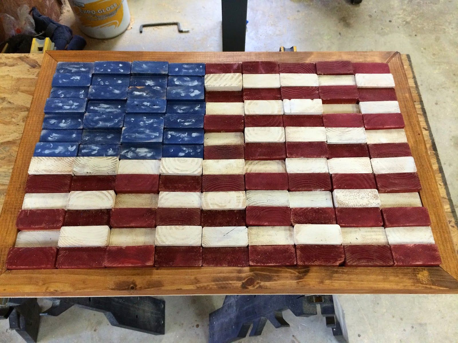febc5ee72e8 American flag made out of scrap 2x4 wood