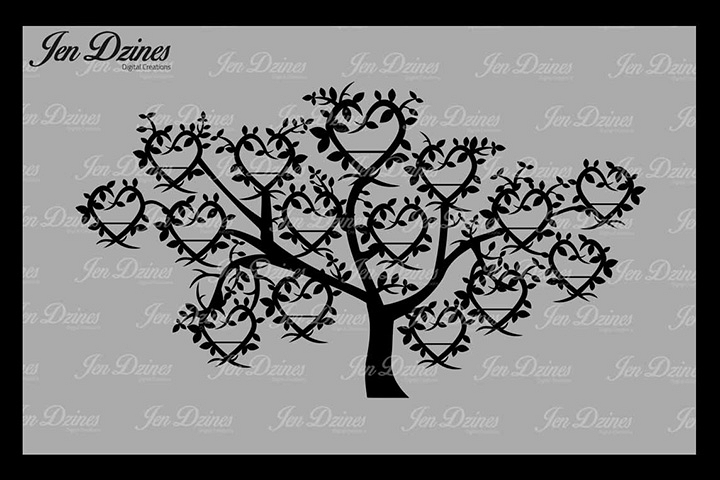 Family Tree 15 Names SVG DXF EPS PNG Tree svg, Free