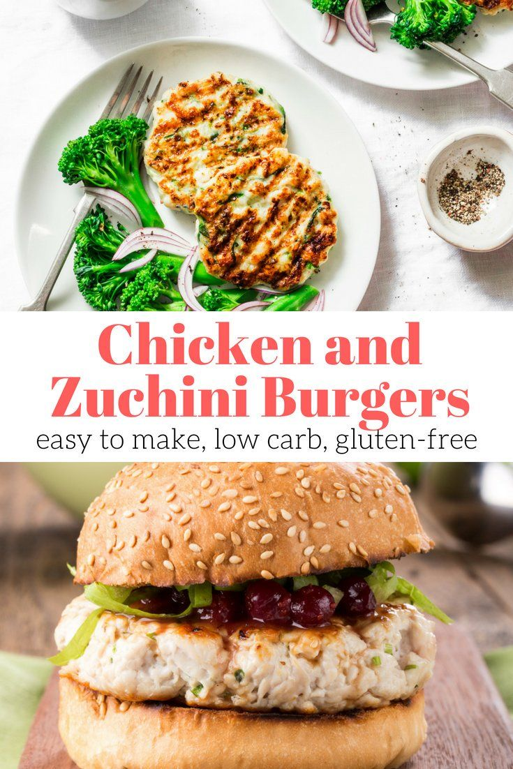 Chicken and Zucchini Burgers These chicken burgers made with zucchini, ricotta cheese, garlic, and Italian spices are healthy, low carb, and are a perfect healthy meal.