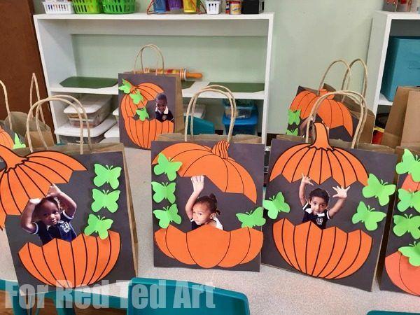 Easy Pumpkin Treat Bags for Preschool #halloween