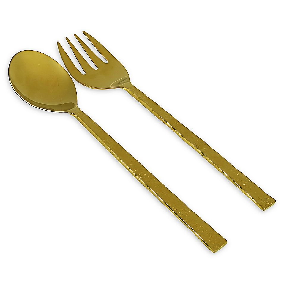 Classic Touch 2 Piece Gem Hammered Stainless Steel Sald Serving Set In Gold Serving Set Salad Serving Set Stainless