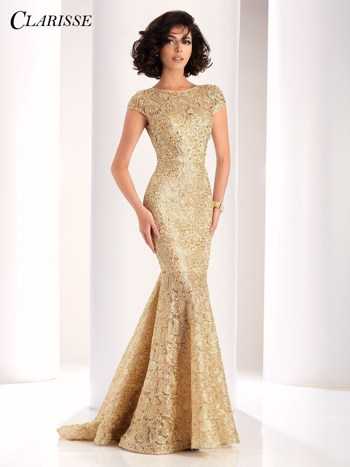 Clarisse couture gold high neckline open back prom dress