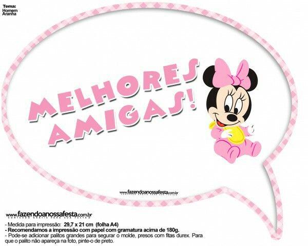 Plaquinha Melhores Amigas Minnie Rosa Festa Minnie Rosa