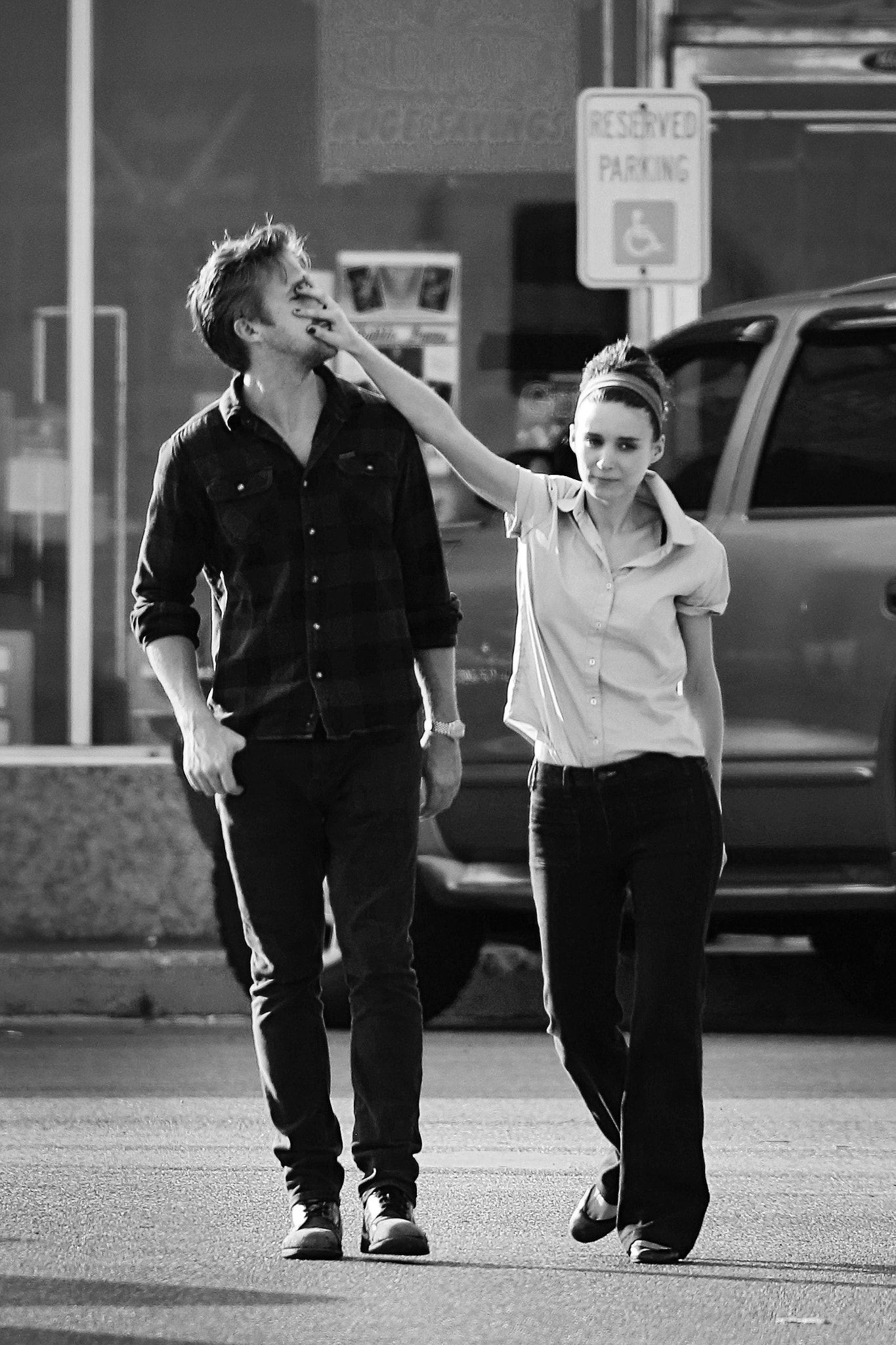 Ryan Gosling and Rooney Mara - Ryan Gosling and Rooney Mara on set of Untitled Terrence Malick Film in Austin Texas 2012.