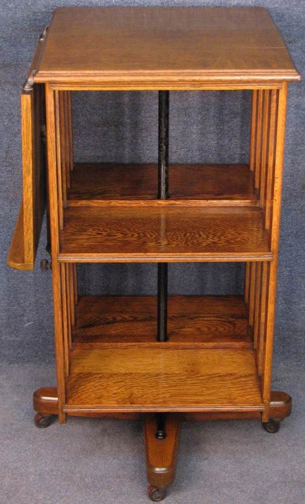 Edwardian Solid Oak Revolving Bookcase Bookshelves With