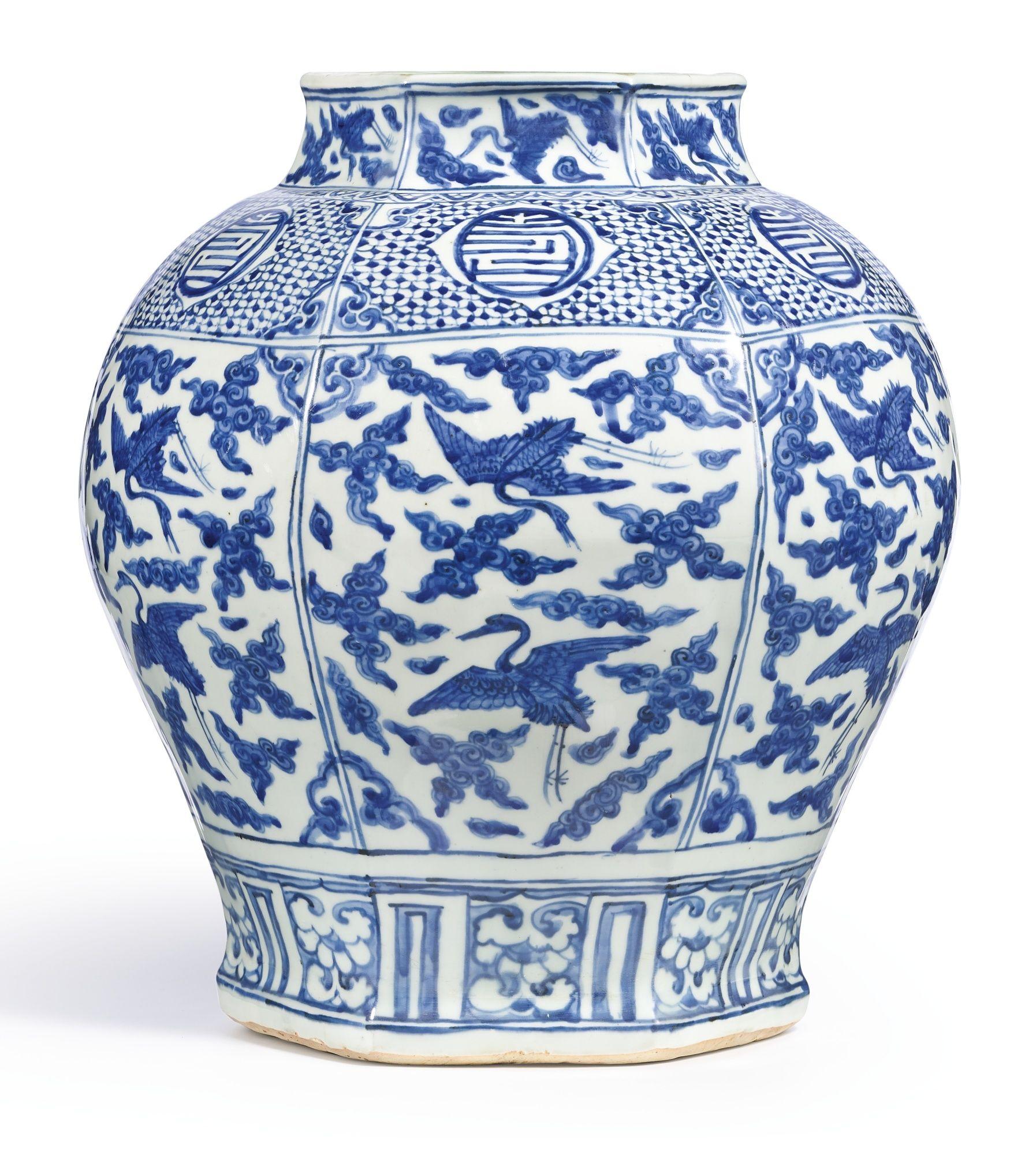 A Large Blue And White Hexagonal Longevity Jarming Dynasty Jiajing Period Lot Blue And White China Blue White Decor Chinese Ceramics