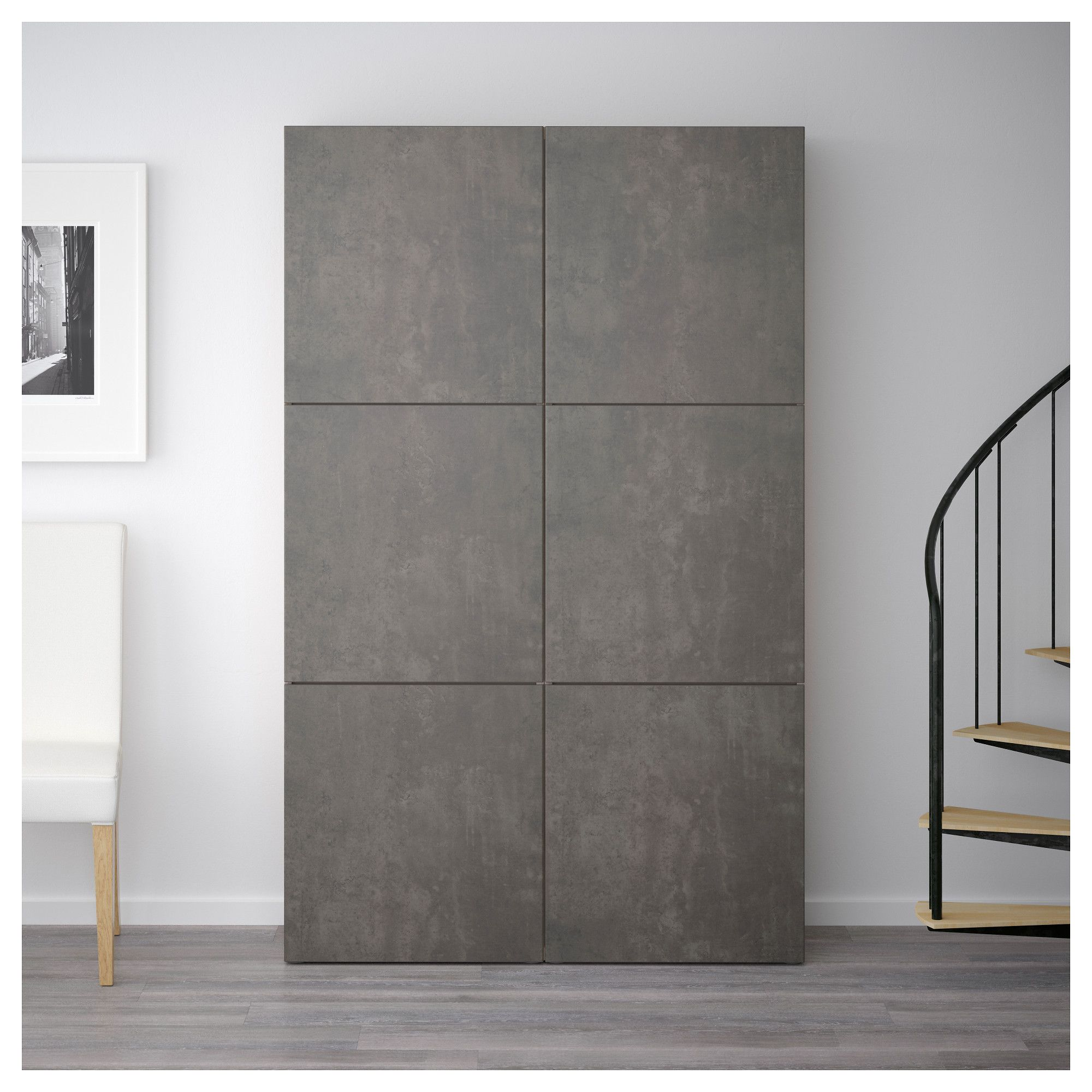 IKEA - BESTÅ Storage combination with doors walnut effect light gray ...