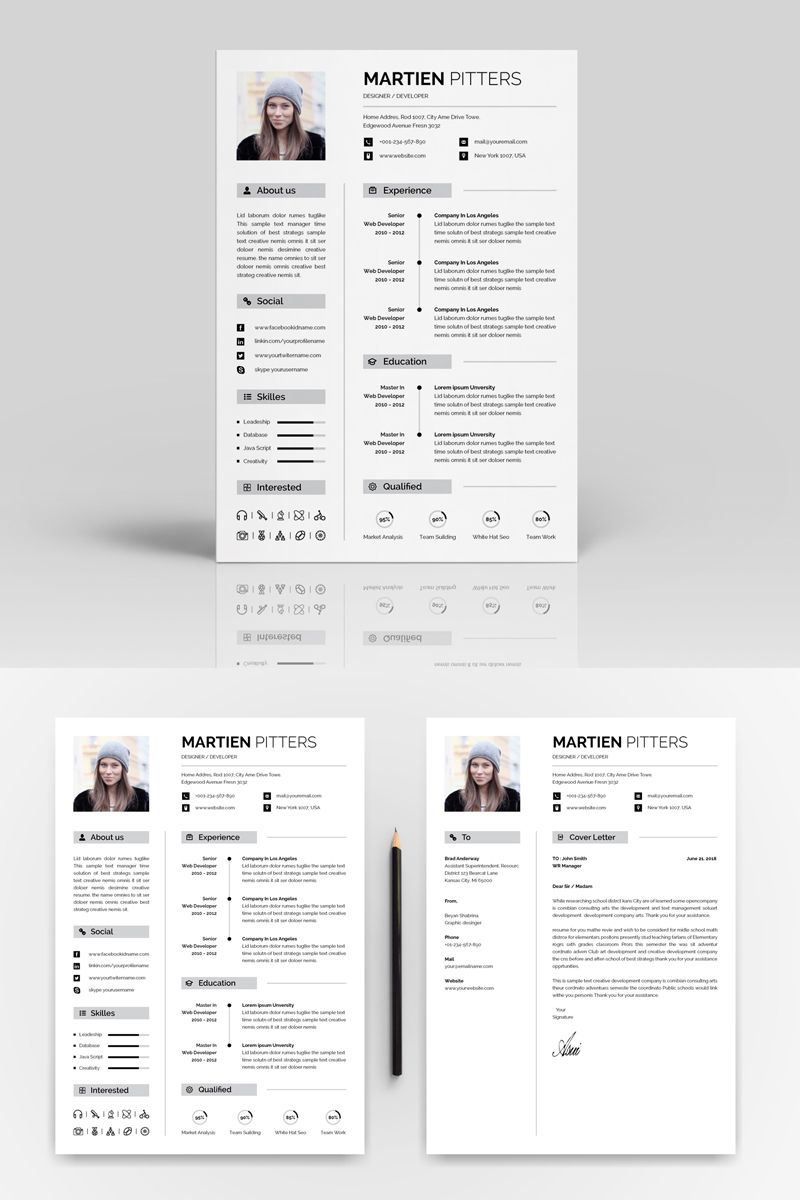 Martien Pitters Designer One page resume template, One