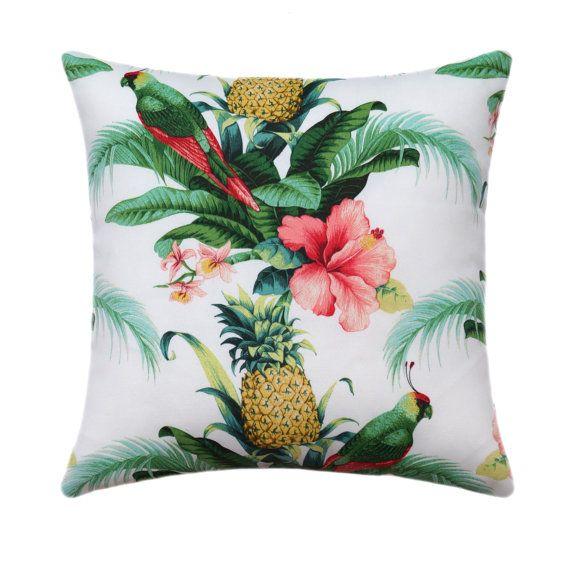 Tropical Outdoor Pillow Cover Hawaiian Decor Pineapple Throw