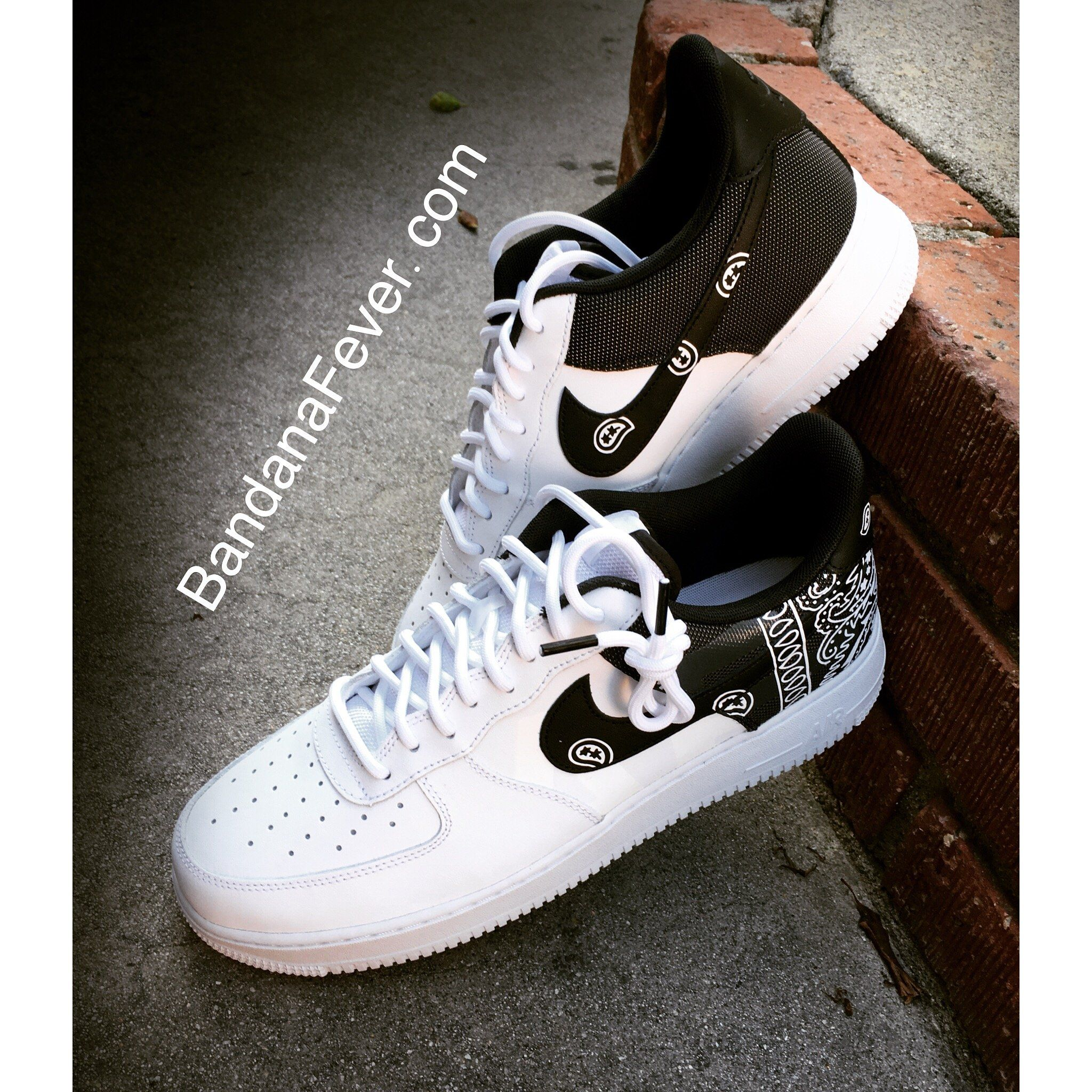 best cheap c8d60 04f6b Bandana Fever White Bandana Print Custom White Black Nike Air Force Shoes   la  sneakers  bandana  bandanafever  bronx  fashion  cpt  streetfashion ...