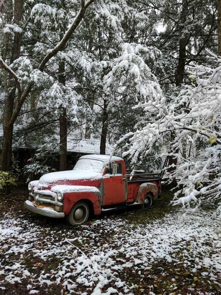 Red Truck In Tennessee Snowfall Christmas Red Truck Red