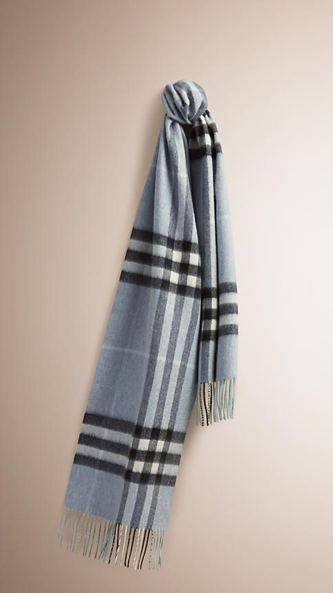 922246577993 Burberry Dusty Blue The Classic Cashmere Scarf in Check - The Classic  Cashmere Scarf in check is made at a 200-year-old mill in the Scottish  countryside.