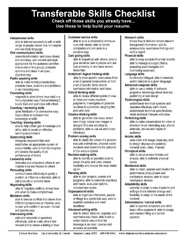 Transferable Skills Checklist Help build your resume! career - skills to list on your resume