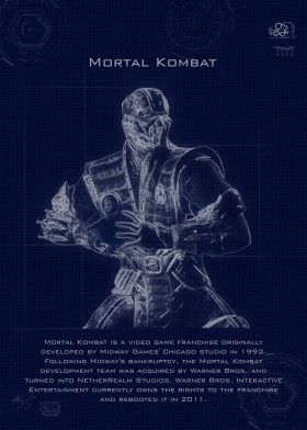 mortal kombat blueprint | Displate thumbnail