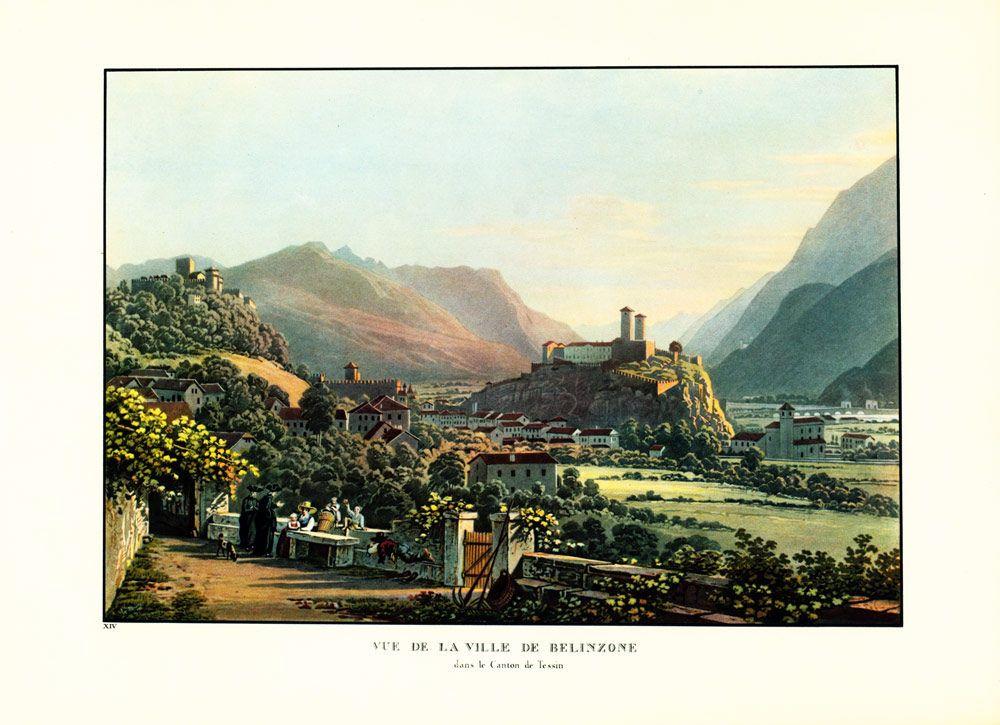1930 Swiss Landscape City Of Bern Reproduction Vintage G Lory C 1830 Papier Ancien Peintre Suisse Art
