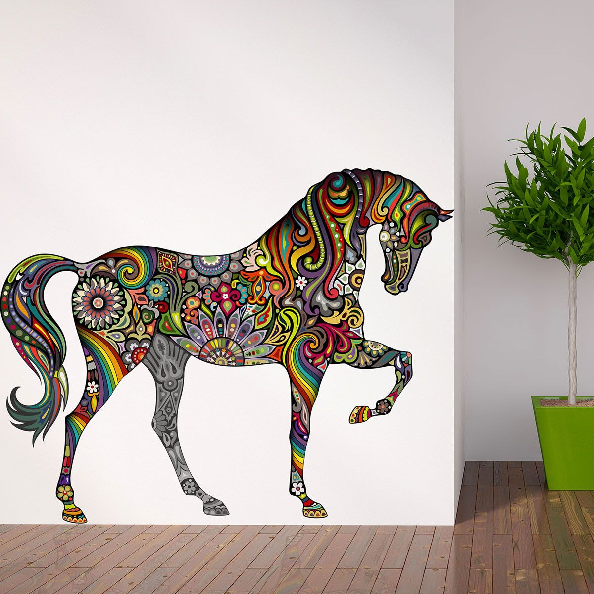 A Horse of Many Colors Wall Sticker - Rainbow Floral Horse Wall Decal