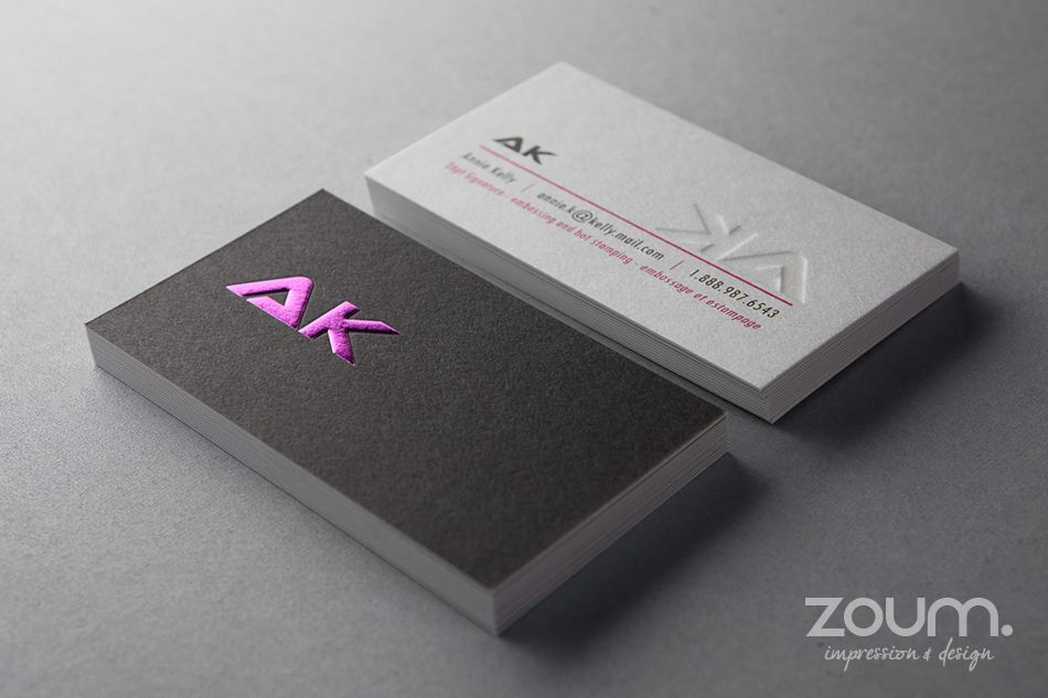 Embossed business cards printed on thick 26pt signature paper with embossed business cards printed on thick 26pt signature paper with hot pink foil stamping printed colourmoves